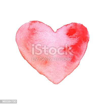 Watercolor Brush Painted Red Heart Vector Heart Shape Hand Drawing Painting Stock Vector Art & More Images of Abstract 965384700