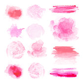 istock Watercolor brush. Set of many different red and pink brush stroke textures for design.  Spots on a white background. Round, rectangle, strip. 1251470865