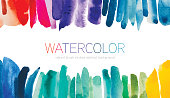 Abstract vibrant watercolor brush strokes background isolated on white. Each single stoke is isolated as one object on white background.