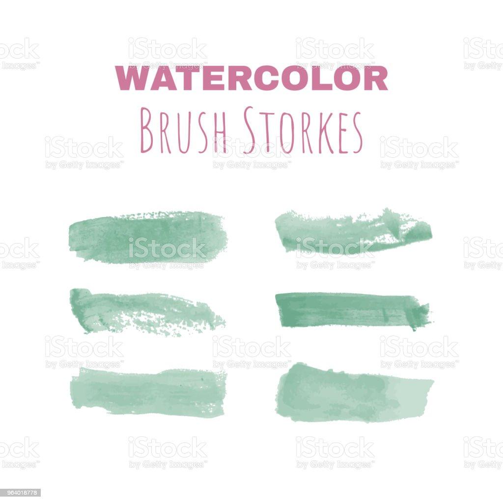Watercolor brush strokes - set of six - Royalty-free Art stock vector