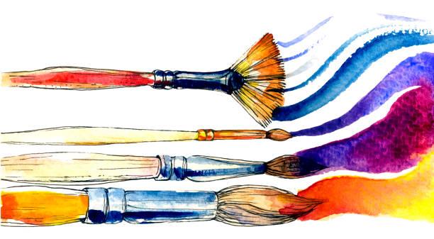 ilustrações de stock, clip art, desenhos animados e ícones de watercolor brushes on white backdrop. colorful art vector set - arte