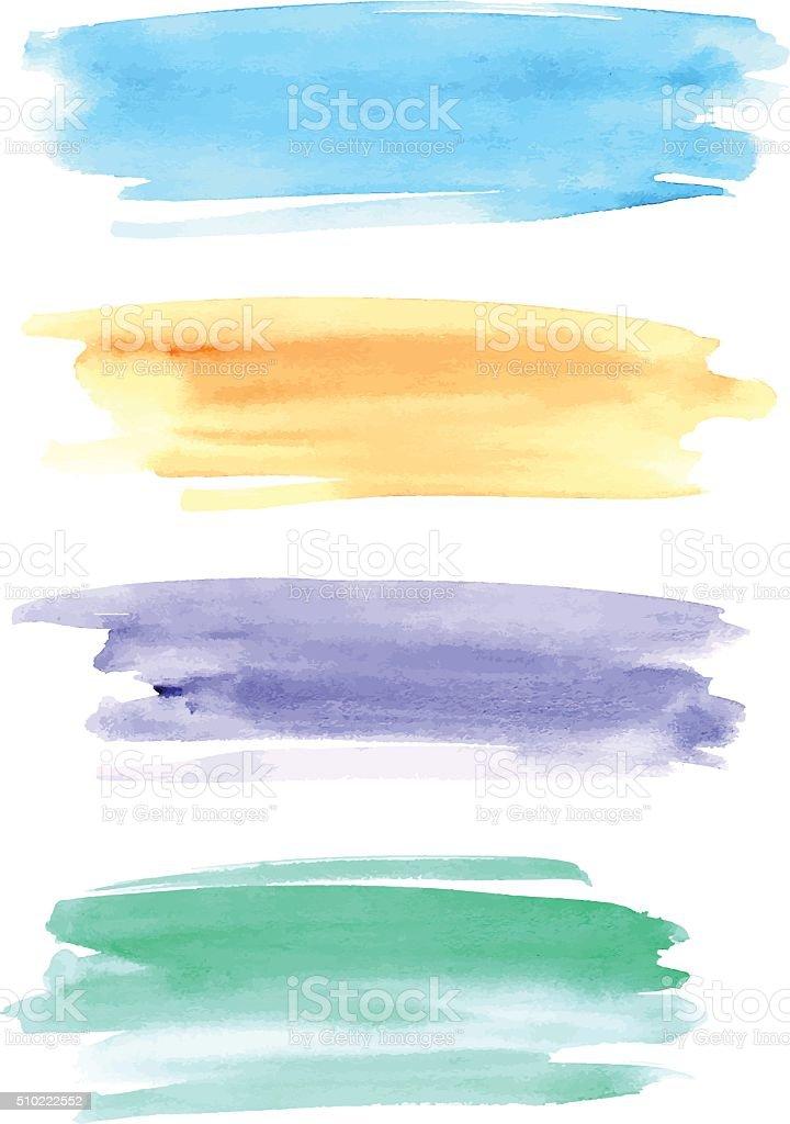 Watercolor brushstrokes for design vector art illustration