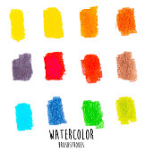 A vector illustration of watercolor brushstrokes in different colors.