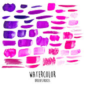 a vector illustration of watercolor brushstrokes in purples and pinks.