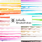 A vector illustration collection of watercolor brushstrokes. Great for adding texture to any design.