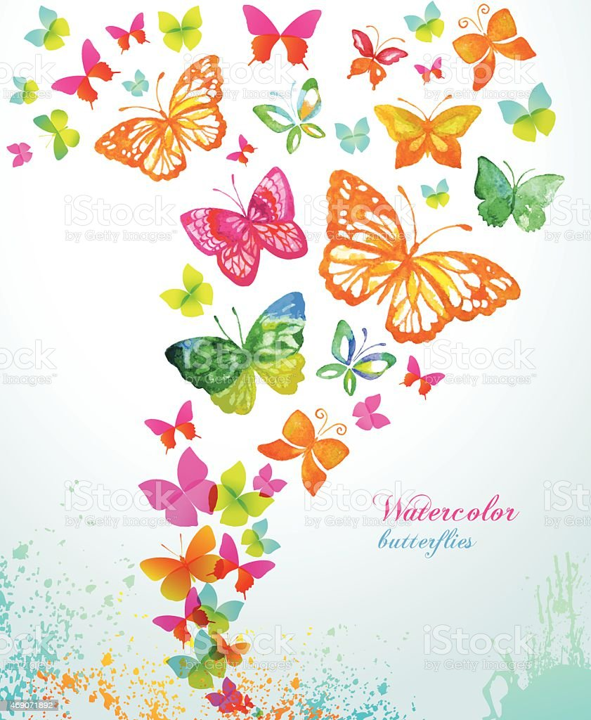 Watercolor butterflies and splash. Vector background. vector art illustration