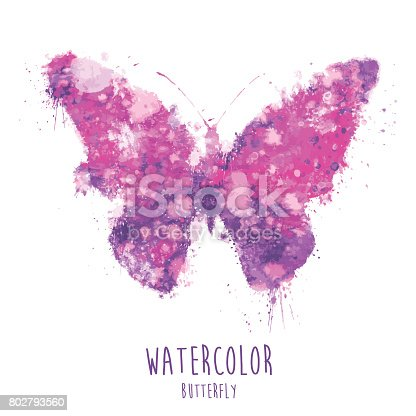 istock Watercolor Butterfly - Illustration 802793560