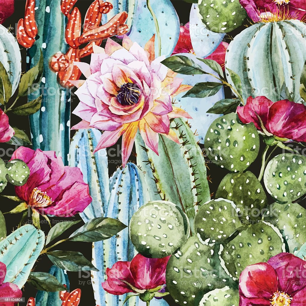 Watercolor cactus pattern vector art illustration