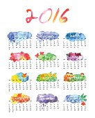 Watercolor calendar 2016 vector file