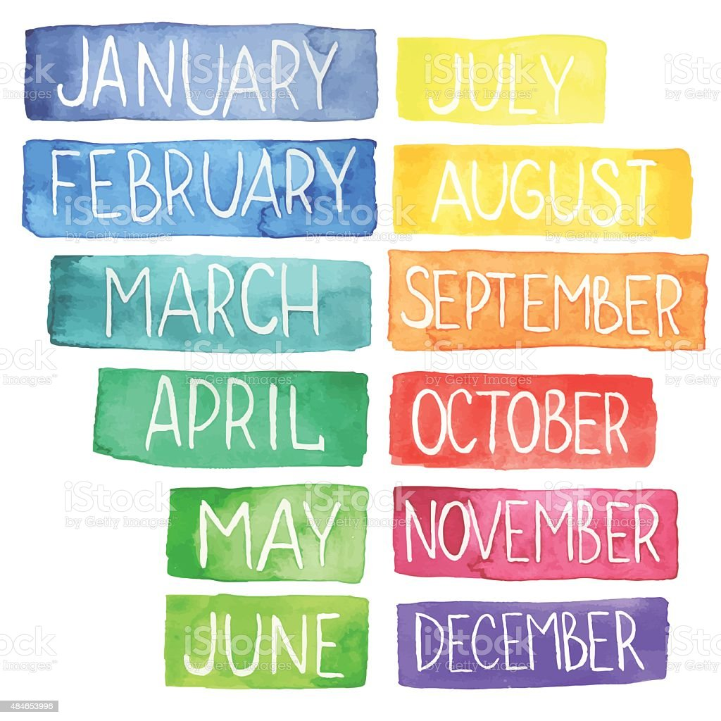watercolor calendar vector art illustration