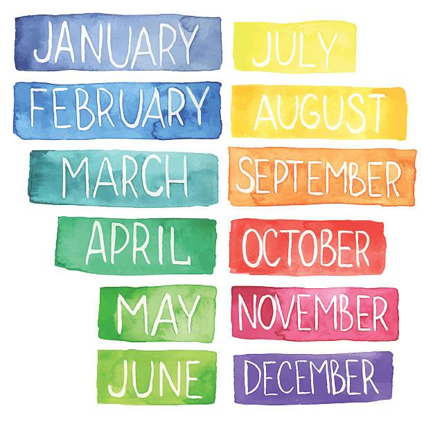 aquarell-kalender - monatskalender stock-grafiken, -clipart, -cartoons und -symbole