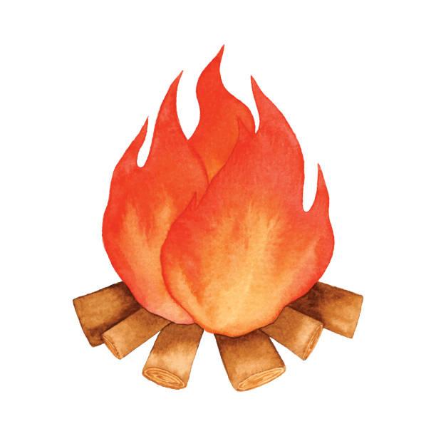 illustrazioni stock, clip art, cartoni animati e icone di tendenza di watercolor campfire - falò