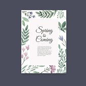 Handdrawn watercolor vector card with place for your text. Unique template for wedding card, save the date, greeting card or invitation. Organic floral design. Summer card.