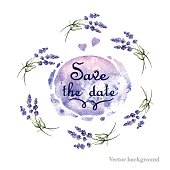 Watercolor card with lavender