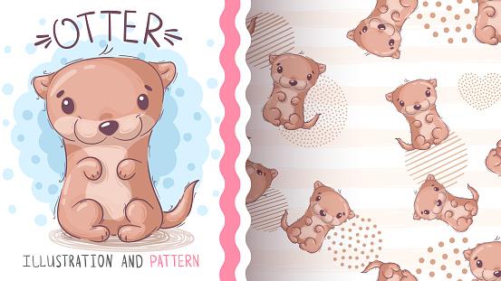 Watercolor cartoon character animal otter - seamless pattern