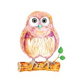 istock Watercolor cartoon owl sitting on the branch 467609700