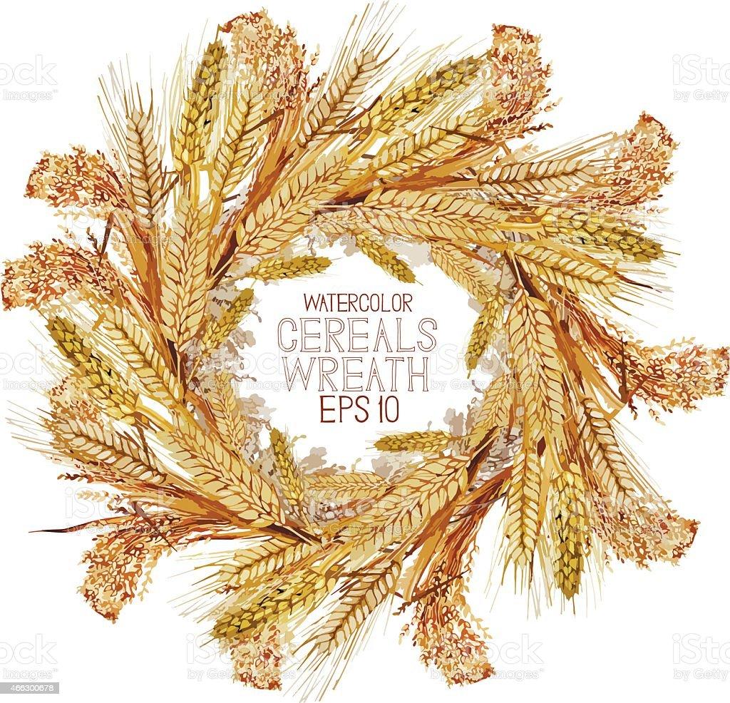 Watercolor cereal wreath vector art illustration