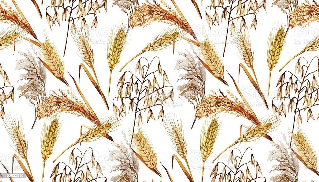 Watercolor cereals pattern vector art illustration