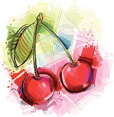 image shows a cherry twig with different sketchy colors; vectorimage,drawing with graphic tablet; with big jpeg (350dpi); without opening paths; only one layer; no gradients; better for white backgrounds