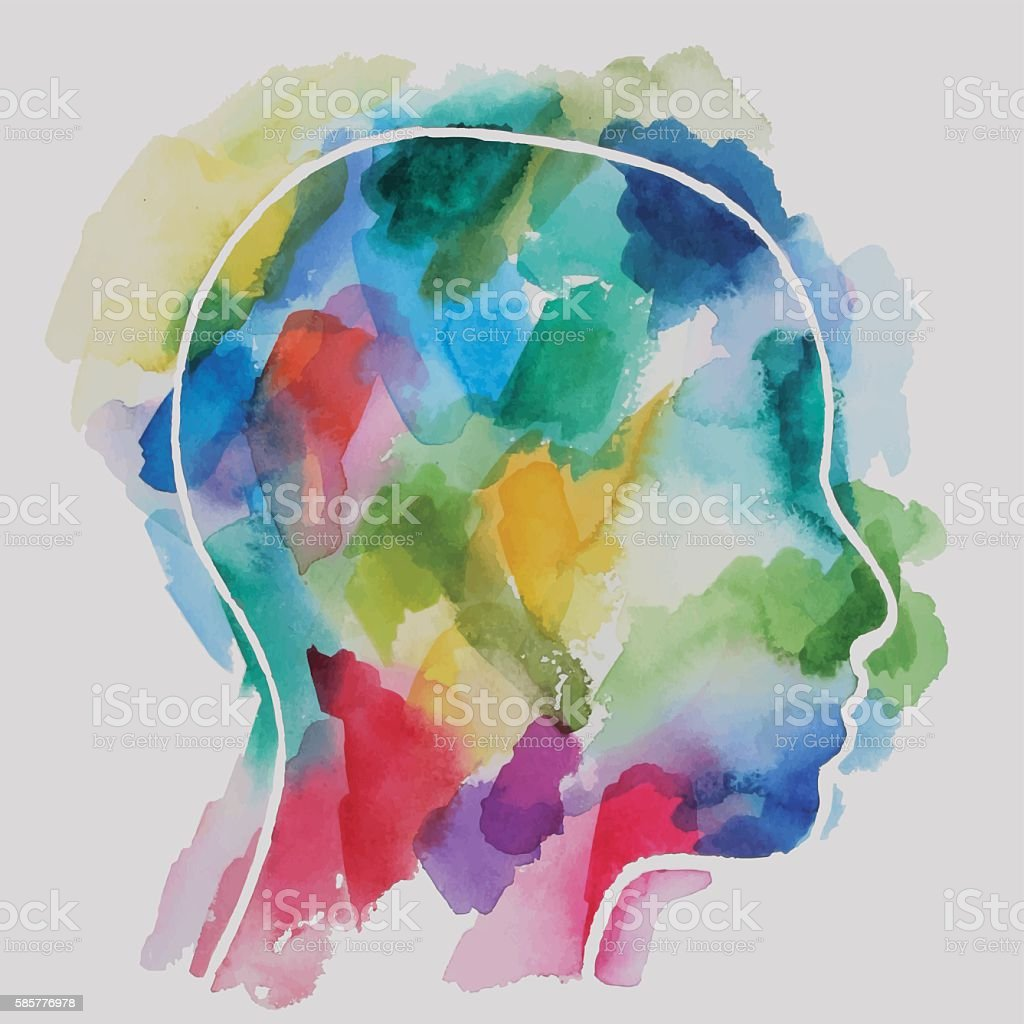 Watercolor Child Head Abstract vector watercolor drawing of a child head. Color of a paper background  and head elements are separated on different layers. Abstract stock vector