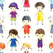 Watercolor children illustration.