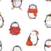 Watercolor christmas baby penguin vector pattern