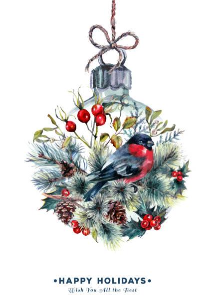 Watercolor Christmas Ball Card vector art illustration