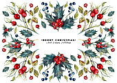 Watercolor Christmas Card made of Holly Berry Branches, Hawthorn Berries, and Foliage. Trendy Symmetrical Design. Winter Nature Botanical Illustration. Yule Greeting Card.