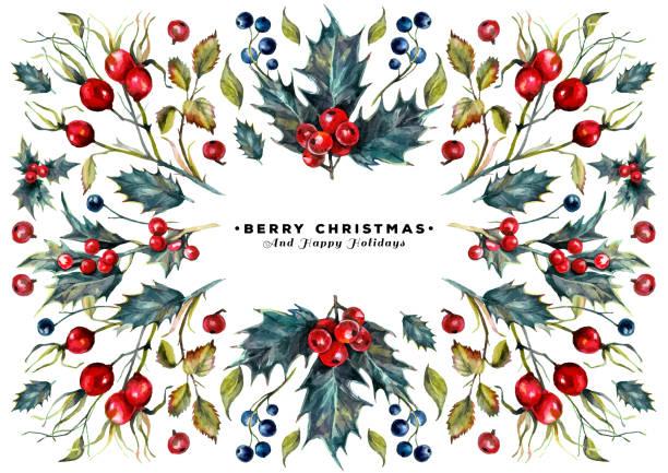 Watercolor Christmas Card vector art illustration
