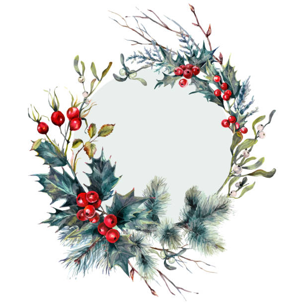 Watercolor Christmas Forest Gifts Wreath Card vector art illustration