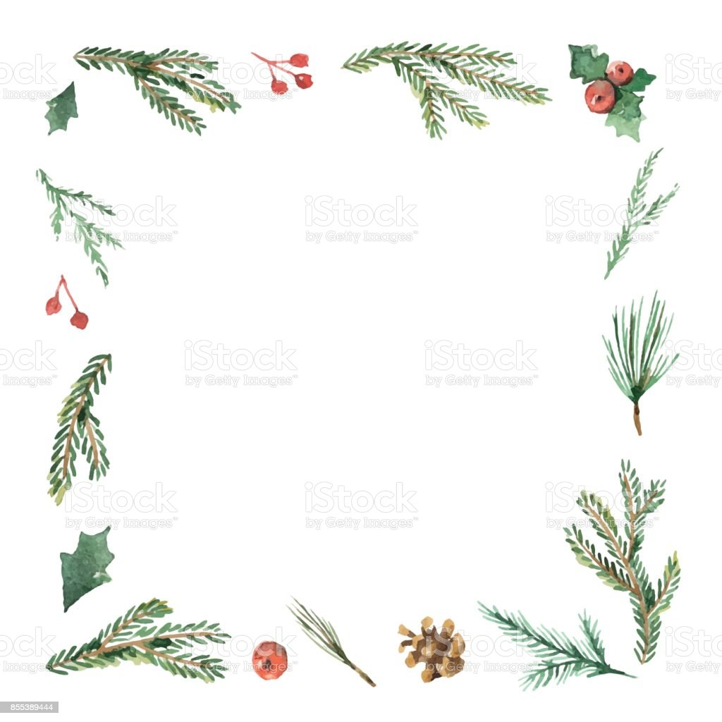 watercolor christmas frame with fir branches and place for. Black Bedroom Furniture Sets. Home Design Ideas