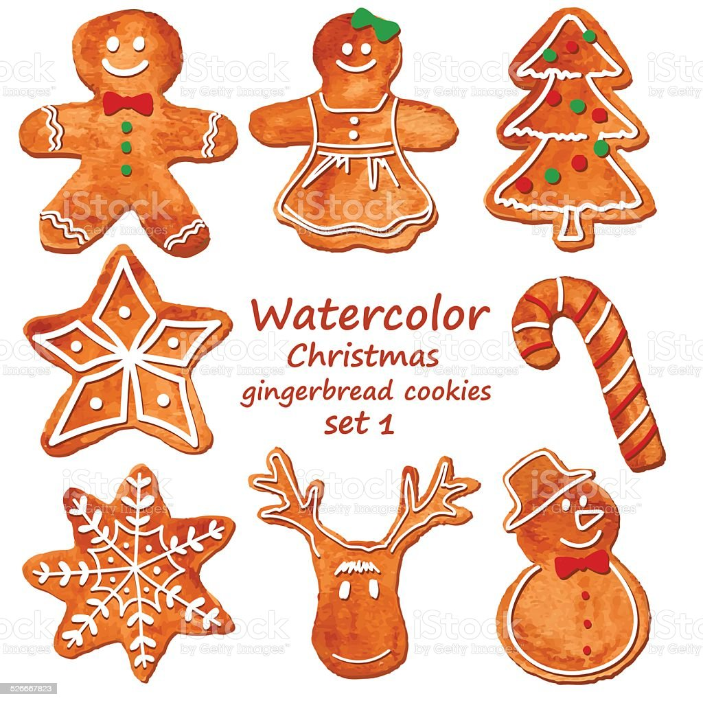 Watercolor Christmas gingerbread cookies vector art illustration