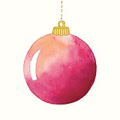 Vector illustration of red christmas ornament.