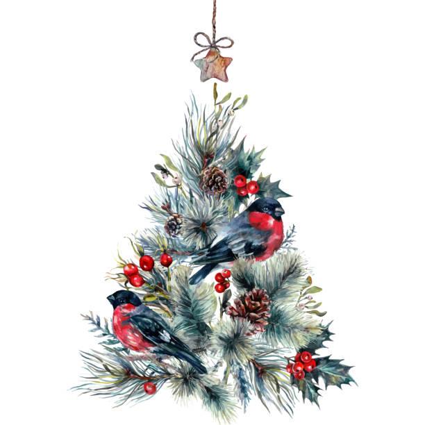 Watercolor Christmas Tree Card vector art illustration