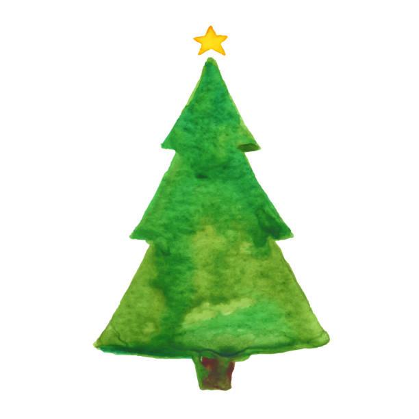 Watercolor Christmas Tree vector art illustration