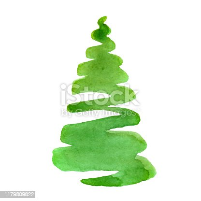 Watercolor Christmas Tree - holiday design element