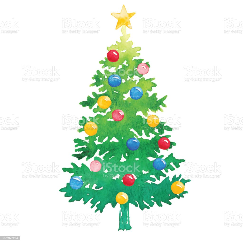 Watercolor Christmas Tree With Ornaments Stock Vector Art More