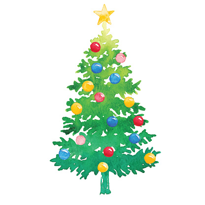 Watercolor Christmas Tree With Ornaments Stock ...