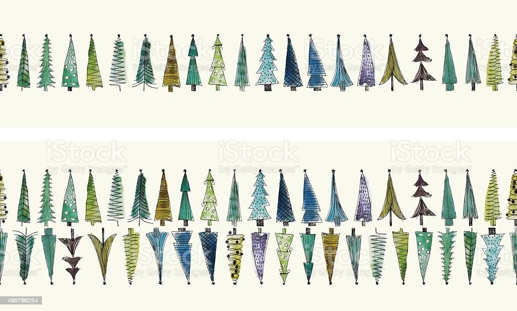 Acuarela de árboles de Navidad sin fisuras vector conjunto - ilustración de arte vectorial