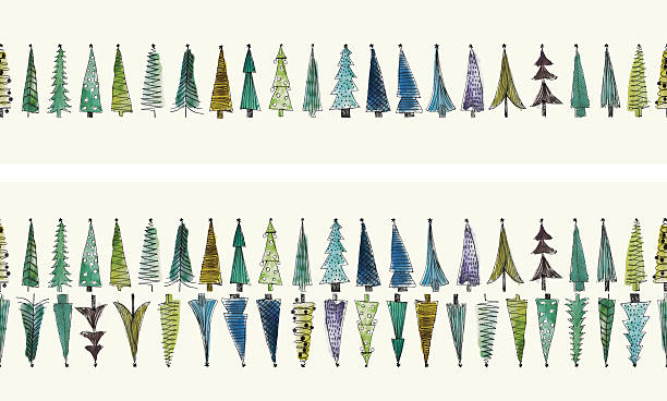 ilustraciones, imágenes clip art, dibujos animados e iconos de stock de acuarela de árboles de navidad sin fisuras vector conjunto - marcos de garabatos y dibujados a mano