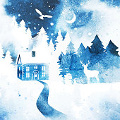 istock Watercolor Christmas vector landscape. Deer, coniferous forest, owl and house in blue color. 1340046473