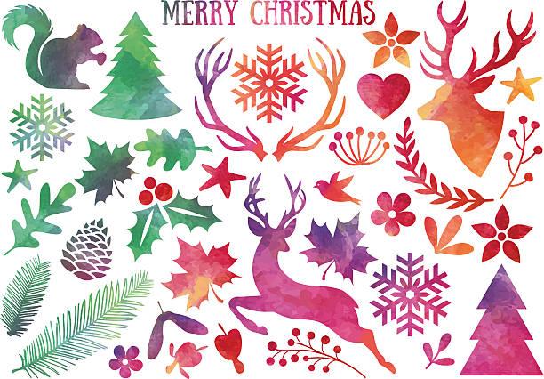 Acuarela de Navidad, vector set - ilustración de arte vectorial