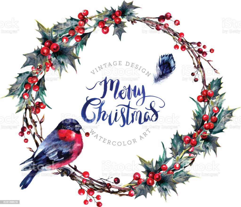 Watercolor Christmas Wreath Made of Holly Branches向量藝術插圖