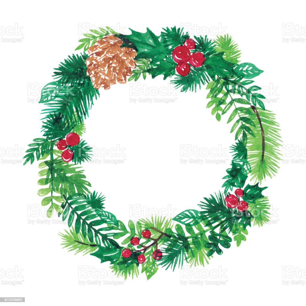 Watercolor Christmas Wreath Stock Vector Art More Images Of