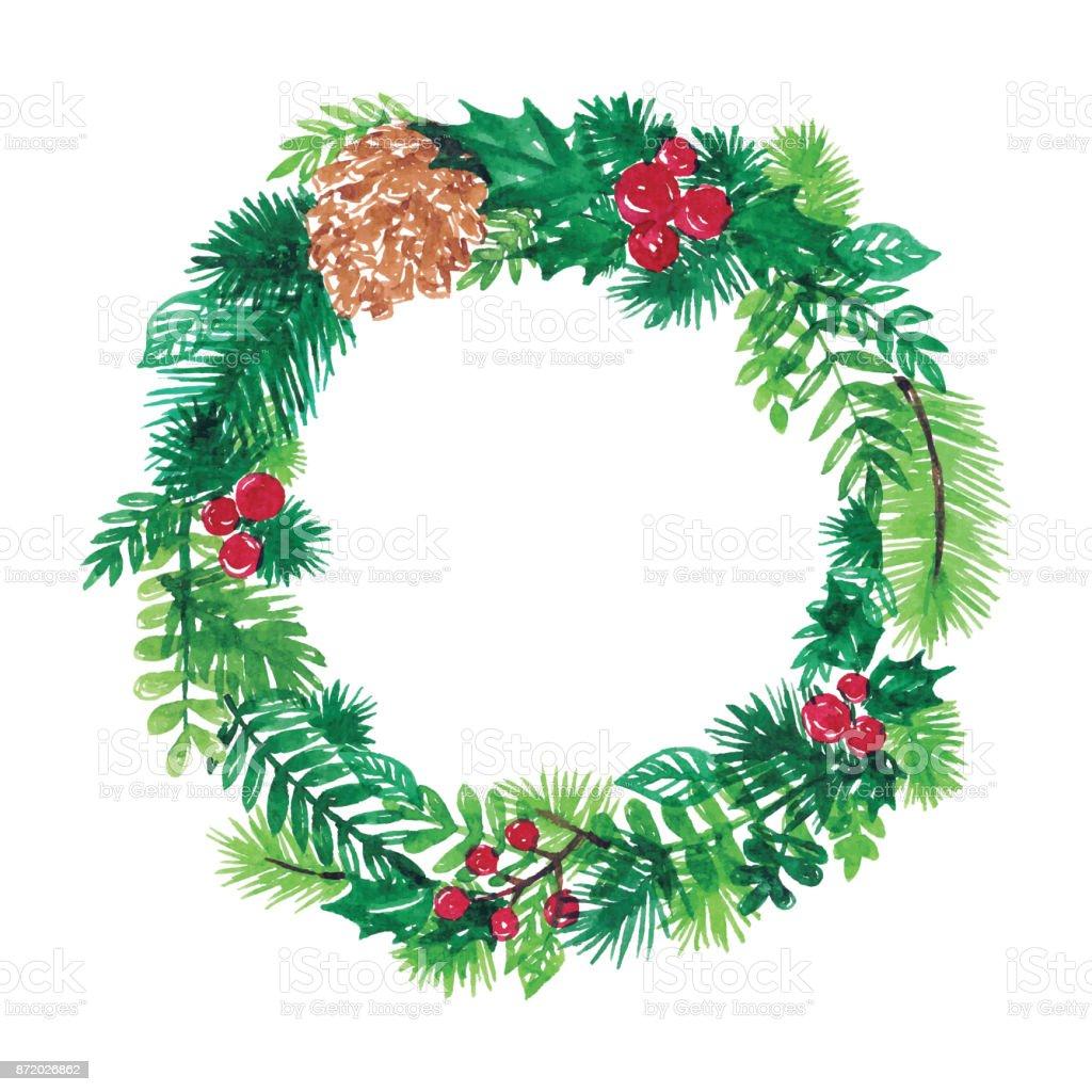 Natal coroa de flores em Aquarela - ilustração de arte em vetor