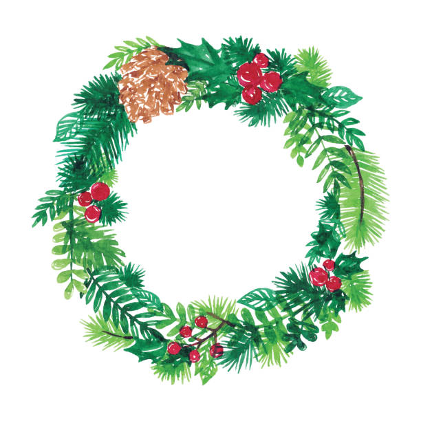 Watercolor Christmas Wreath Vector illustration of watercolor painting. christmas clipart stock illustrations