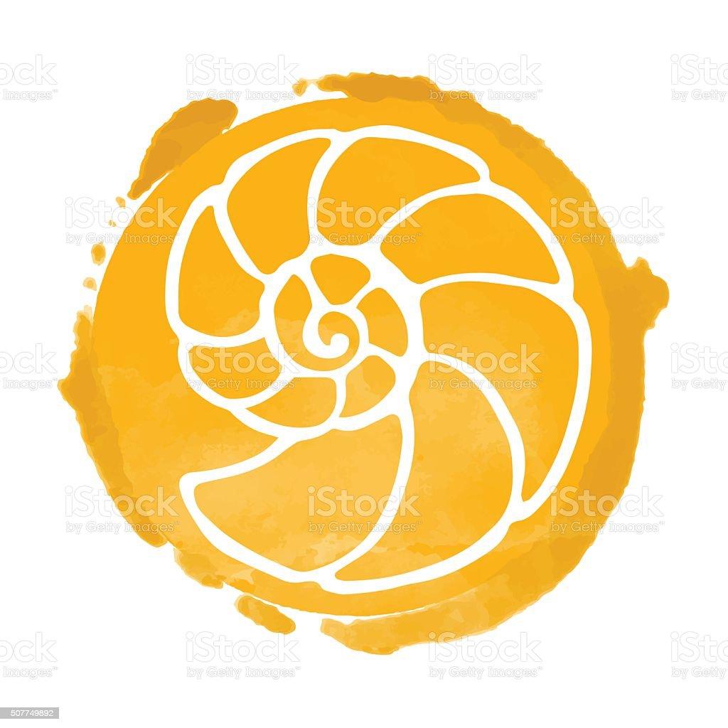 Watercolor circle and sea shell vector art illustration