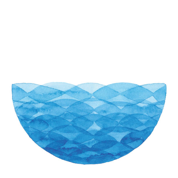tło koła akwareli z niebieską falą - fala woda stock illustrations