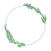 istock Watercolor Circle Frame With Green Leaves 1222361740