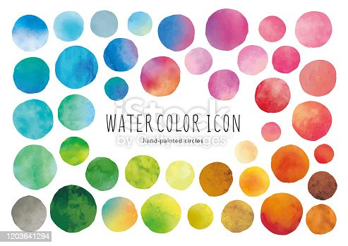 Watercolor circle icons